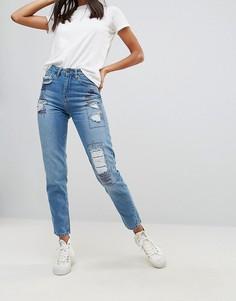 Джинсы в винтажном стиле с нашивками Waven - Синий