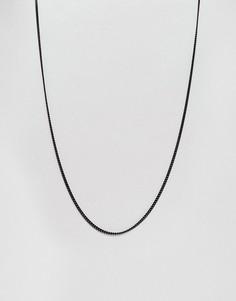 Черное ожерелье из цепочки с крупными звеньями Mister - Черный