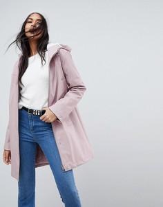Дождевик с искусственным мехом ASOS Premium - Розовый