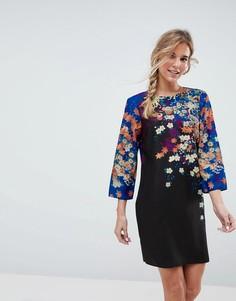 Свободное платье мини с цветочным принтом ASOS - Мульти
