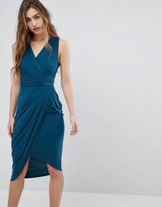 Платье миди с запахом Wal G - Зеленый
