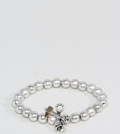 Серебристый браслет с бусинами Reclaimed Vintage Inspired эксклюзивно для ASOS - Черный