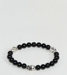 Черный браслет с бусинами и черепом Reclaimed Vintage Inspired эксклюзивно для ASOS - Черный