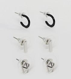Набор из 3 пар сережек-гвоздиков (кольца/ с геометрическим дизайном) DesignB эксклюзивно для ASOS - Мульти