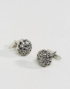 Серебристые запонки с камнями DesignB эксклюзивно для ASOS - Серебряный