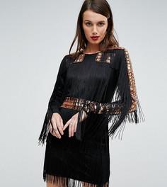Трикотажное платье мини с отделкой заклепками и бахромой A Star Is Born - Черный
