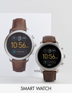 Часы с коричневым кожаным ремешком Fossil Q FTW4003 Explorist - Коричневый