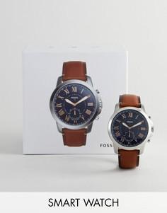 Гибридные смарт-часы с кожаным ремешком Fossil Q FTW1122 - Рыжий