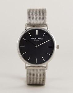 Серебристые часы с сетчатым ремешком Simon Carter WT2401 - Серебряный