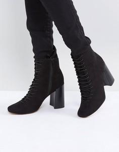 Ботильоны на каблуке и шнуровке ASOS EVONNA - Черный