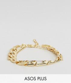 Золотистый массивный браслет ASOS PLUS - Мульти