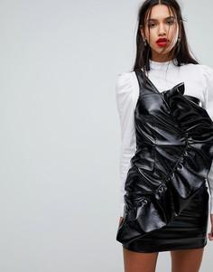 Облегающее виниловое платье мини с оборкой River Island - Черный