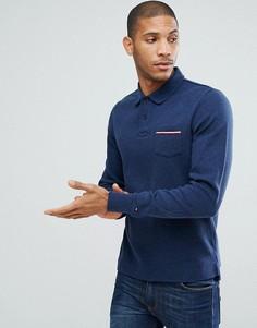 Темно-синее поло с длинными рукавами и карманом Tommy Hilfiger Kent - Темно-синий