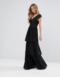 Платье макси с открытыми плечами и накладкой из тюля Club L - Черный