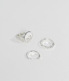 Набор из 3 серебристых колец Chained & Able - Серебряный
