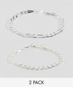 Набор из 2 серебристых браслетов Chained & Able Royal - Серебряный