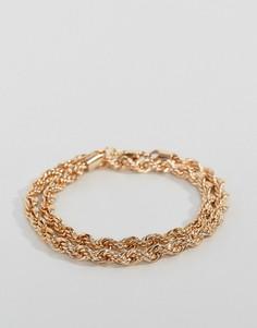 Золотой браслет из двойной витой цепочки Chained & Able - Золотой