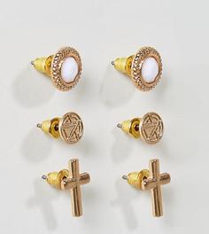 Набор из 3 пар золотистых серег с камнями Chained & Able - Золотой