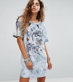 Платье-футболка с принтом волка Sacred Hawk - Серый