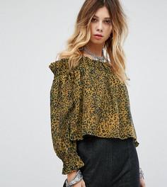 Блузка с открытыми плечами и леопардовым принтом Sacred Hawk - Желтый