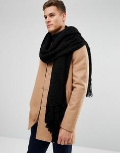 Черный фактурный шарф ASOS - Черный