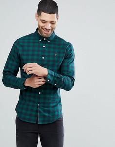 Зеленая приталенная рубашка в клетку из поплина Farah Muriel - Зеленый