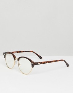 Черепаховые очки в стиле ретро с прозрачными стеклами Jeepers Peepers - Коричневый