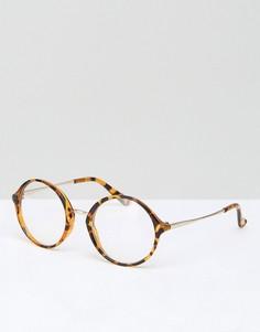 Круглые черепаховые очки с прозрачными стеклами Jeepers Peepers - Коричневый