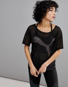 Черная футболка с сетчатой вставкой Puma Dancer - Черный