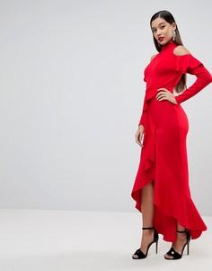 Платье макси с крупными оборками и открытой спиной ASOS - Мульти