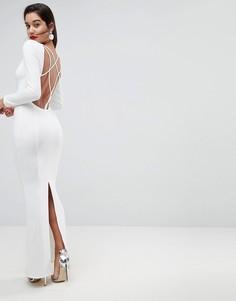 Платье макси с открытой спиной и длинными рукавами ASOS - Белый