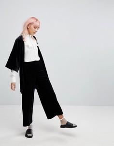 Бархатная юбка-брюки в полоску Monki - Черный