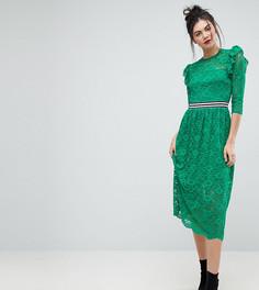 Кружевное чайное платье миди со спортивной отделкой ASOS TALL - Зеленый