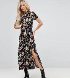 Чайное платье макси с принтом ASOS PETITE - Черный