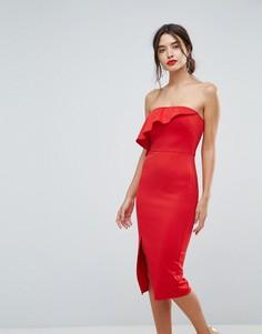 Структурированное платье-бандо с оборкой и разрезом сбоку True Violet - Красный