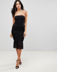 Платье бандо с кружевной оборкой на подоле AX Paris - Черный