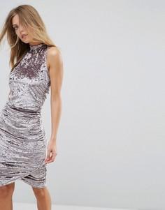 Присборенное бархатное платье миди Ax Paris - Серебряный
