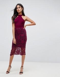 Платье миди с ажурной юбкой и контрастной подкладкой AX Paris - Фиолетовый