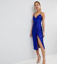 Платье миди на бретелях с запахом и отделкой пайетками ASOS PETITE - Синий