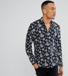 Рубашка классического кроя из вискозы с цветочным принтом ASOS TALL - Темно-синий