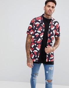 Рубашка в новогоднем стиле с короткими рукавами LDN DNM - Черный