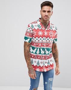 Рубашка в новогоднем стиле с короткими рукавами LDN DNM - Белый