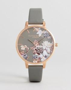 Часы с серым кожаным ремешком и мраморно-цветочным принтом Olivia Burton OB16CS08 - Серый