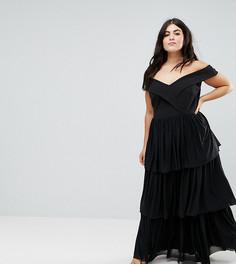 Ярусное платье макси с открытыми плечами Club L Plus - Черный