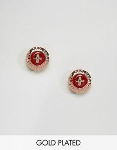 Красные серьги-гвоздики в виде пуговиц с эмалью Ted Baker - Золотой