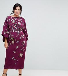 Платье-кимоно миди с вышивкой ASOS CURVE - Фиолетовый
