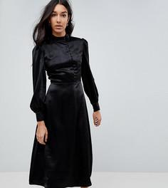 Платье миди с высоким воротом и пуговицами Fashion Union Tall - Черный