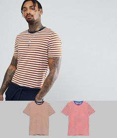 Набор из 2 футболок в полоску ASOS, СКИДКА - Мульти