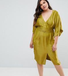 Платье миди с рукавами-кимоно и плиссировкой на талии ASOS CURVE - Желтый