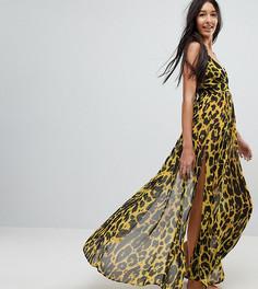 Шифоновое пляжное платье макси с глубоким вырезом и гепардовым принтом ASOS TALL - Мульти